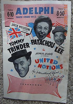 Adelphi Theatre Programme - United Notions - Tommy Trinder, Pinky Lee - 1956