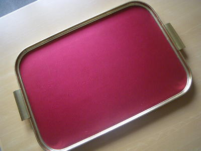 Vintage 1960s Metal Cocktail  Drinks Large Serving Tray.  Red. Carefree Ware.