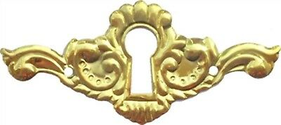 Stamped Brass Victorian Keyhole Cover drawer desk key plate lock antique old new