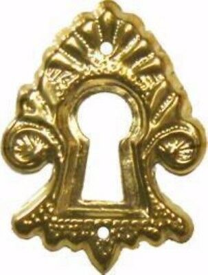 Victorian Style Stamped Brass Keyhole Cover desk lock antique vintage old rustic