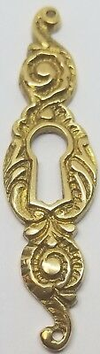Cast Solid Brass Victorian Style KEYHOLE COVER antique desk drawer key cabinet