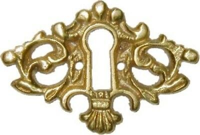 Victorian Cast Brass Keyhole Cover rustic antique vintage retro desk drawer old