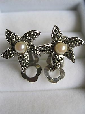 Vintage Continental Silver, Marcasite and genuine Pearl clip earrings - Immacula