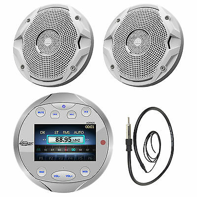 "AQR82S Silver Marine Bluetooth AM FM Receiver, Antenna, 6.5"" Marine Speaker Set"