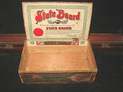 Antique State Board Wood Cigar Box Factory 276 Iowa Yeager Maker Advertising
