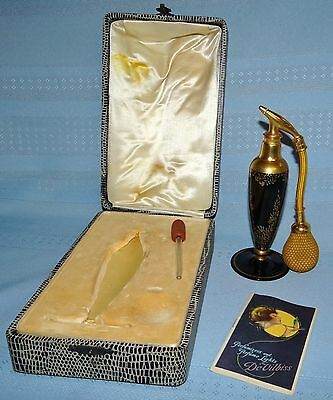 Antique 1925 DeVilbiss Perfume Atomizer Black/Gold Bottle w/ Box & Product Book