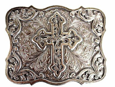 Rodeo Cowboy Sterling Silver Plated Decorative Cowboy Cross Belt Buckle 2801
