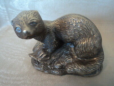 Vintage Brass Cast Otter - Desk Top/fireplace Display Or Doorstop - Super Item.