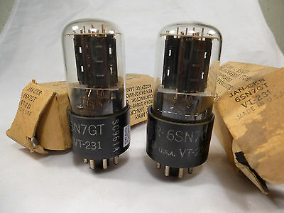 one pair 6SN7GT VT231 VT-231 JAN new in box NOS and tested with U61C