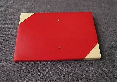 Vintage Big Red With Striped Creamy Corners Celluloid? Plaque For Project