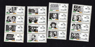 IRELAND-1916-2016- 4 STRIPS OF 5c SOAR 8th DEFINITIVE SERIES .