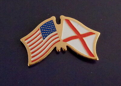 Alabama State Flag & US Untied States Flags Crossed Lapel Pin USA AL