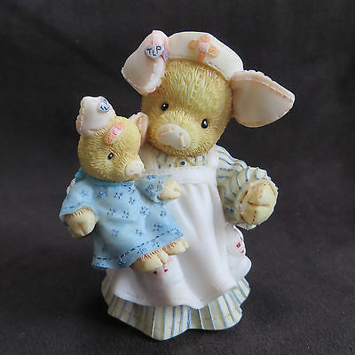 This Little Piggy You'll Be Just Swine Pig Nurse Figurine Enesco 167649 As Is