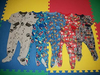 Lot 5 Baby Boy Footed Sleeper PJs Sleepwear Clothes Outfit 12 m months Carter's+