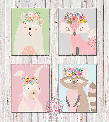 LOT of 4 Boho Sleeping WOODLAND Printable Prints Home Nursery Wall Art Decor