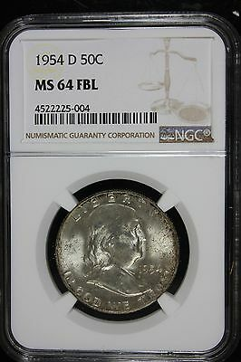 1954-D Franklin Half Dollar (MS 64 FBL) NGC