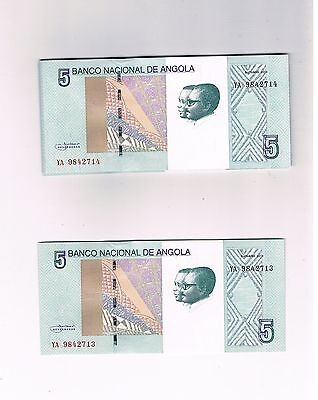 Angola Not In Pick 25X5 Kwanzas 2012 Unc Consecutive Numbers