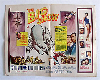 "1961 ""the Big Show"" Esther Williams, Cliff Robinson Half Sheet Movie Poster"