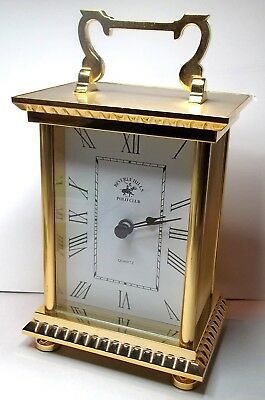 BEVERLY HILLS POLO CLUB French Brass Carriage Mantle Clock Battery New Boxed