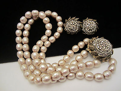Vtg Signed Miriam Haskell Faux Baroque Pearl Rhinestone Necklace & Earring Set