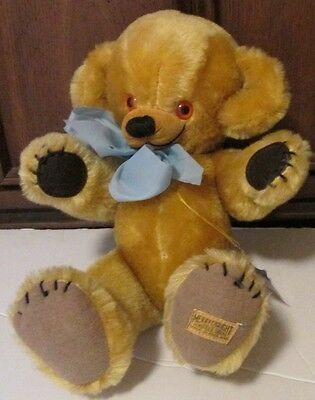 """Plush CHEEKY teddy BEAR mohair jointed bells in ears 14"""", MERRYTHOUGHT England"""