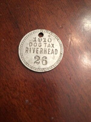 RIVERHEAD Vintage 1910 dog tax tag number 26 ANTIQUE OOAK RARE NY NEW YORK