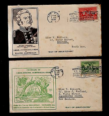 South Australia 2x different Centenary FDC 1936 see scans x2