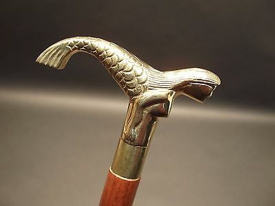 Vintage Antique Style, Brass Mermaid Solid Wood Victorian Walking Stick Cane