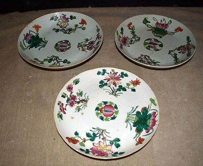 Antique Set Of 3 Hand-Painted Enamel Decorated Chinese Asian Serving Bowls