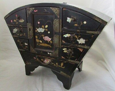 Antique Vintage Black Lacquered Trinket Jewellery Box Floral