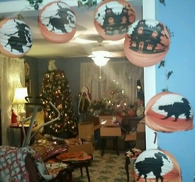 6 Six!halloween��Silhouette-Paper Lanterns-2Cat-2Witch-2Haunted House Cheap-Ship