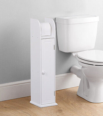 Free Standing Bathroom Toilet Paper Roll Holder Tissue Dispenser Wood Storage UK