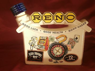 1968 Ezra Brooks Decanter Reno Good Luck - Good Health - Good Cheer