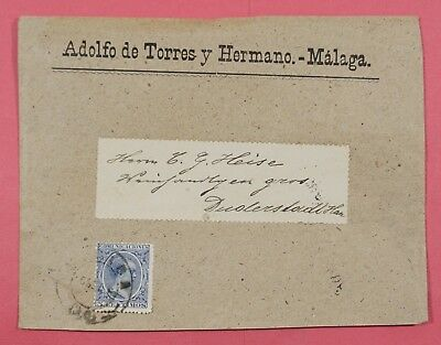 1890s SPAIN COVER BUSINESS CORNER MALAGA TO DUDERSTADT GERMANY