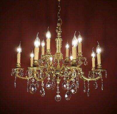 Brass French Chandelier Crystal Glass Vintage Lamp