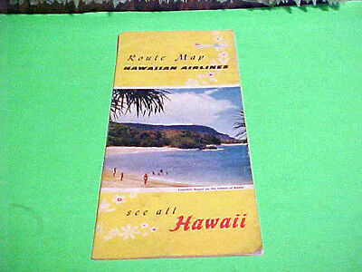 Old 1960 - HAWAIIAN AIRLINES - Route Map - Hawaii