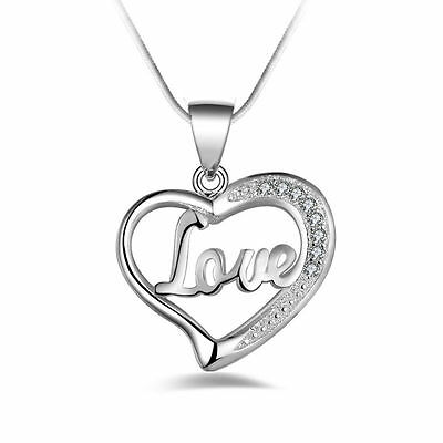Women Fashion Sterling Silver Heart Pendant Necklace Chain Jewelry Gift VF-A