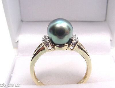 PEACOCK GRAY CULTURED AKOYA PEARL 7.6 mm and .25 TCW DIAMONDS 10K GOLD RING