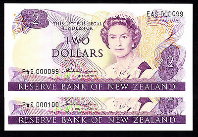 New Zealand $2 Cons. Pair  Hardie Type II (1981-1985) P. 170a  UNC Low #99 & 100