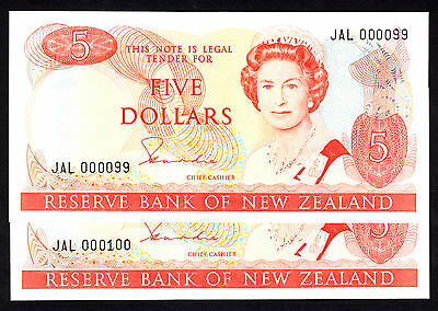 New Zealand $5 Cons. Pair Hardie Type II (1981-1985) P. 171a  UNC Low #99 & 100