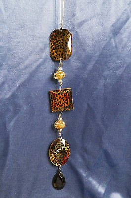 Gold and Black Cheetah Striped Jeweled Dangle Christmas Tree Ornament new