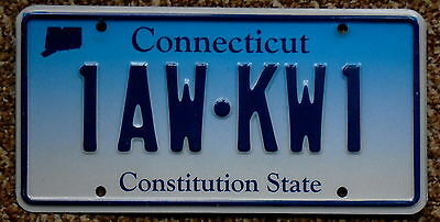 CONNECTICUT Fading Bule Constitution State License Plate 1AW KW1