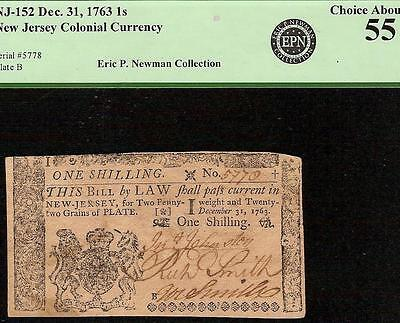 1763 New Jersey Colonial Currency 1 Shillings Note Paper Money Pcgs 55