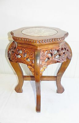 "Antique Vintage Chinese Side Table Carved Marble Top Urn Plant Stand 18"" NICE"