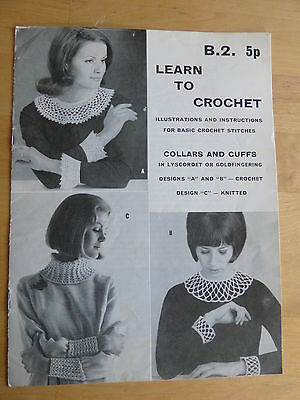 """Vintage 1960's """"How to Crochet"""" Booklet + 3 patterns for collars & cuffs"""