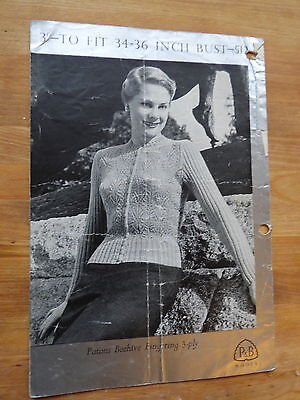 1950s Knitting Pattern, Woman's Cardigan with Lace Body & Ribbed Sleeves, 3ply