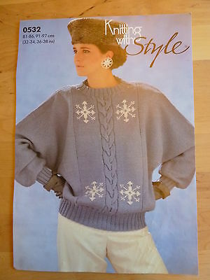Knitting Pattern, Sweater with Snowflake Motif and Giant Cable down front