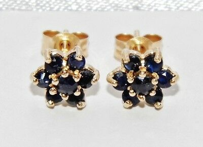 Beautiful 9ct Yellow Gold Blue Sapphire Cluster Stud Earrings -