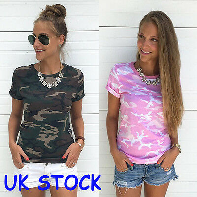 Fashion Womens Casual Camouflage Sleeve Tops Shirt Ladies Loose T-shirt Blouse