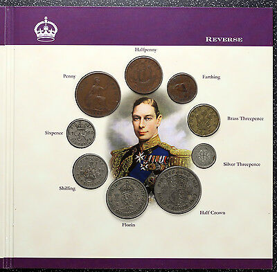 George VI Coin, Note & Stamp Set 1937-1952 ~ Farthing to Halfcrown, Pound Note